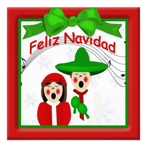 Saludo mexicano de los pares de los Carolers del Invitaciones Personalizada