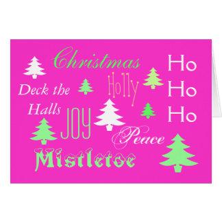 Saludo moderno del navidad verde rosado tarjeta de felicitación