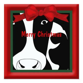 Saludo plano de la vaca de las Felices Navidad Anuncio Personalizado