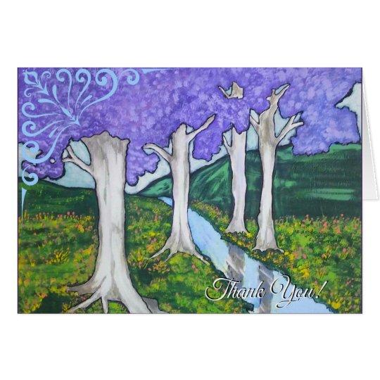 Saludo púrpura del prado tarjeta de felicitación