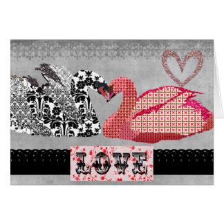 Saludo retro del corazón de los cisnes tarjeta de felicitación