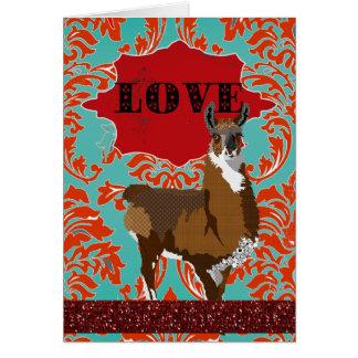 Saludo rojo del damasco del amor de oro de la tarjeta de felicitación
