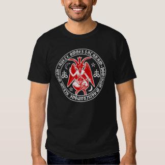 Saludo Satan Baphomet con las cruces satánicas Camisas