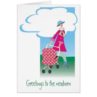 Saludos al recién nacido tarjeta de felicitación