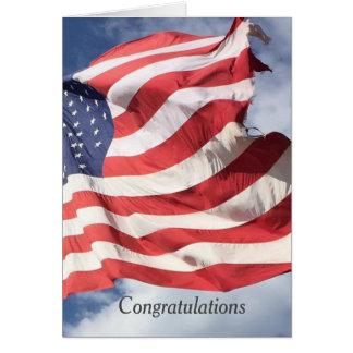 Saludos C de la enhorabuena de la bandera de las Tarjeta