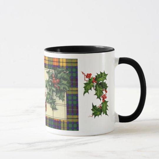 Saludos calurosos del navidad, tartán de Buchanan Taza