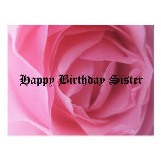 Saludos color de rosa rosados del cumpleaños de la postal