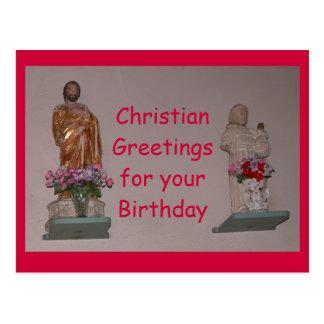 Saludos cristianos para su cumpleaños tarjeta postal