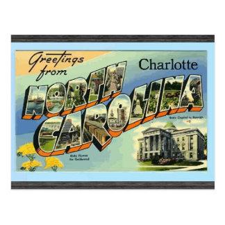 Saludos de Carolina del Norte Charlotte, vintage Postal