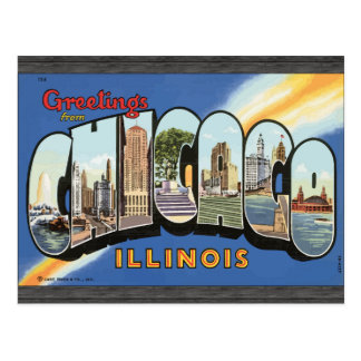 Saludos de Chicago Illinois, vintage Postal