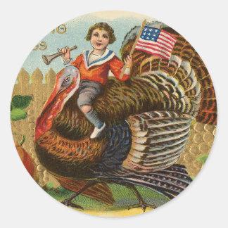 Saludos de la acción de gracias de Turquía del Pegatina Redonda