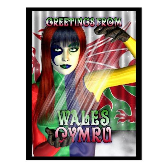 Saludos de la postal de País de Gales, Cymru,