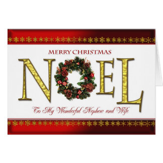 Saludos de Noel para el sobrino y la esposa Tarjeta De Felicitación