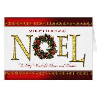 Saludos de Noel para la sobrina y el socio Tarjeta De Felicitación