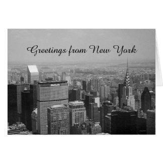 Saludos de Nueva York, Nueva York blanco y negro Tarjeta De Felicitación