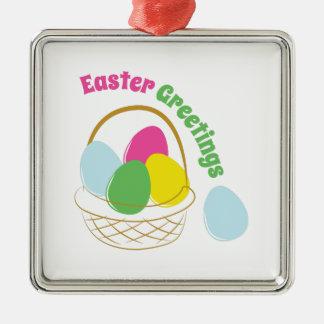 Saludos de Pascua Adorno Cuadrado Plateado