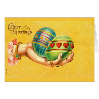 Saludos de Pascua del vintage con los huevos Tarjeta