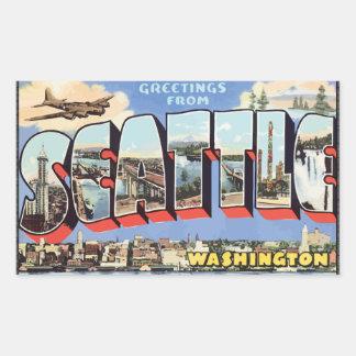Saludos de Seattle Washington, vintage Pegatina Rectangular