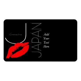 Saludos del beso rojo del amor del lápiz labial de tarjetas de visita