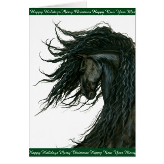 Saludos del caballo del día de fiesta frisios por tarjeta de felicitación