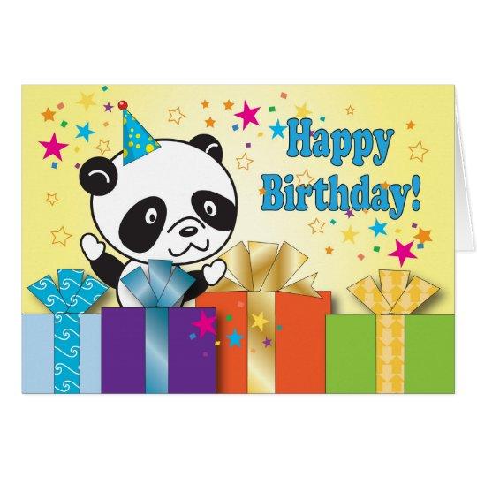 Saludos del cumpleaños de la panda tarjeta de felicitación