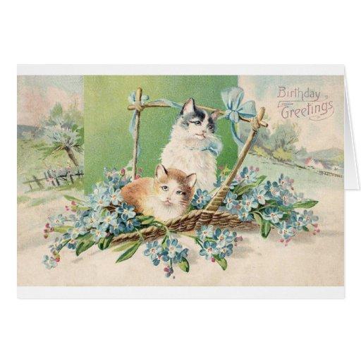 Saludos del cumpleaños del gato del gatito tarjetón