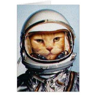 Saludos del cumpleaños: Gato retro del astronauta Tarjeta De Felicitación