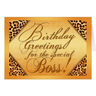 Saludos del cumpleaños para el jefe especial tarjeta de felicitación
