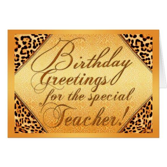 Saludos del cumpleaños para el profesor especial tarjeta de felicitación