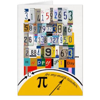 Saludos del día del pi para el profesor de matemát tarjeta