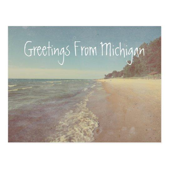 Saludos del lago Michigan hermoso Postal