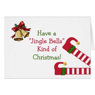 Saludos del navidad con las piernas del duende tarjeta de felicitación