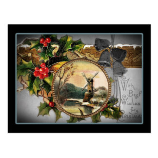 Saludos del navidad del molino de viento postal