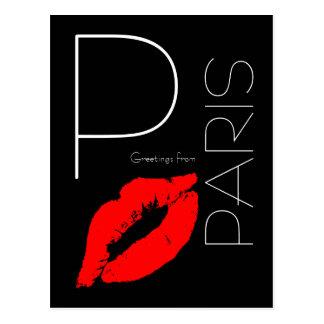 Saludos del negro rojo del beso del lápiz labial postal