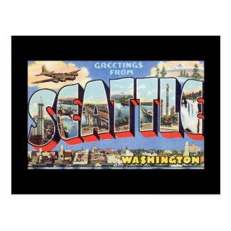 Saludos del viaje de Seattle Washington_Vintage Postal