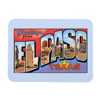 Saludos del vintage de El Paso Tejas Imanes Rectangulares