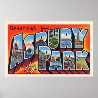 Saludos del vintage del parque de Asbury Póster