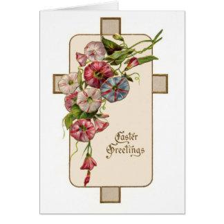 Saludos florales de Pascua del vintage cristiano Tarjeta