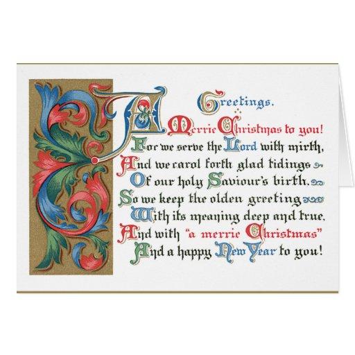 Saludos medievales del navidad del movimiento en s tarjeta de felicitación
