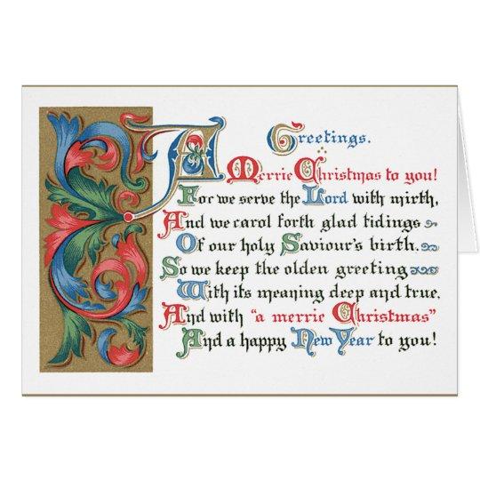 Saludos medievales del navidad del movimiento en tarjeta de felicitación
