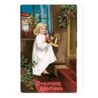 Saludos pasados de moda del navidad postal
