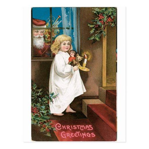 Saludos pasados de moda del navidad tarjeta postal