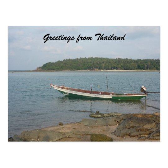 saludos tailandeses del barco postal