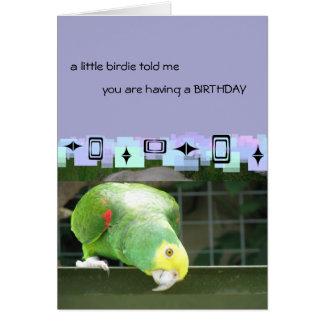 Saludos verdes del cumpleaños del loro tarjeta