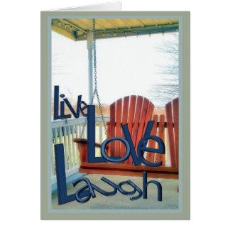 Saludos vivos de la risa del amor tarjeta