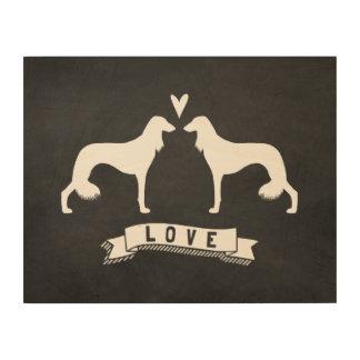 Saluki siluetea amor impresión en madera