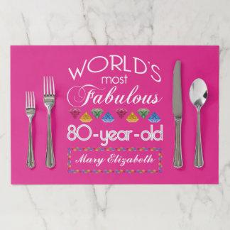 Salvamantel De Papel 80.o Cumpleaños la mayoría del rosa colorido