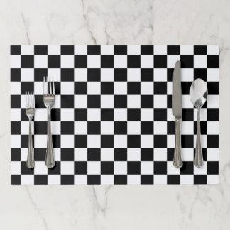 Salvamantel De Papel Blanco a cuadros clásico del negro del control del