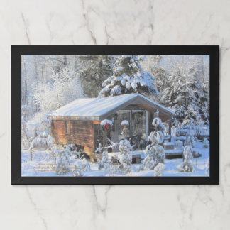 Salvamantel De Papel Cabaña del invierno en los jardines