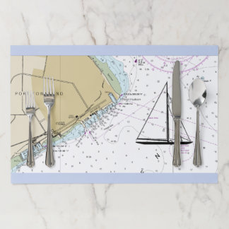 Salvamantel De Papel Carta náutica Placemat, puerto Townsend